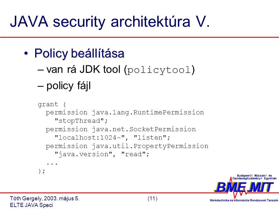 Tóth Gergely, 2003. május 5.(11) ELTE JAVA Speci JAVA security architektúra V.