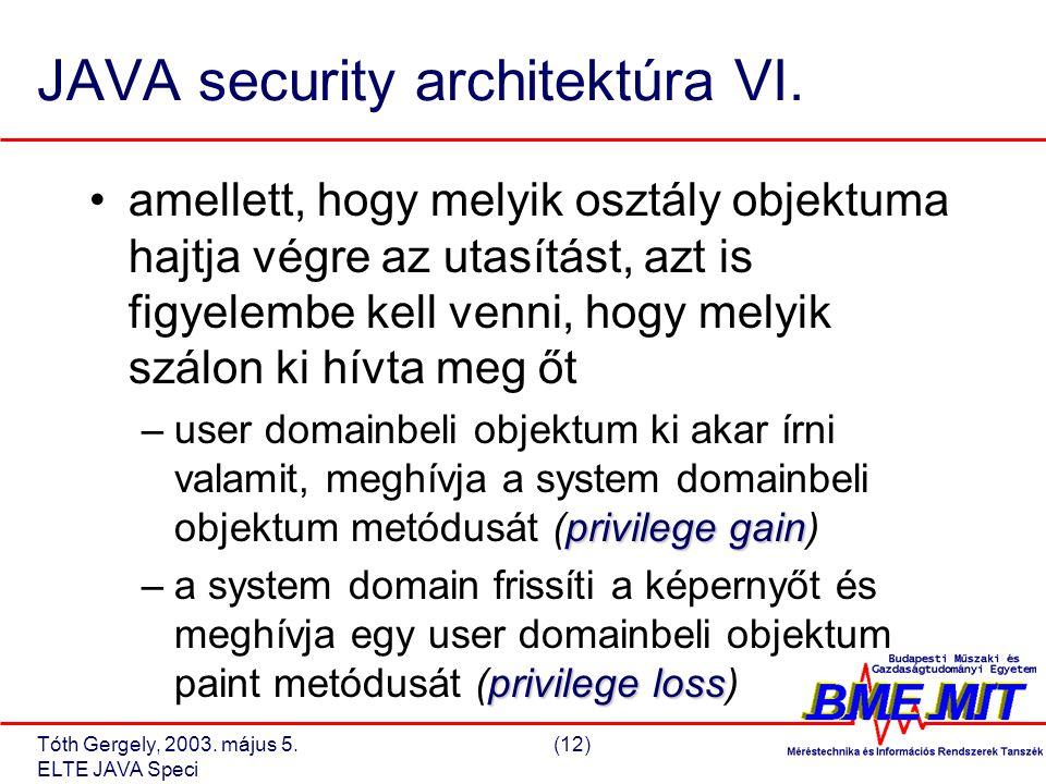 Tóth Gergely, 2003. május 5.(12) ELTE JAVA Speci JAVA security architektúra VI.
