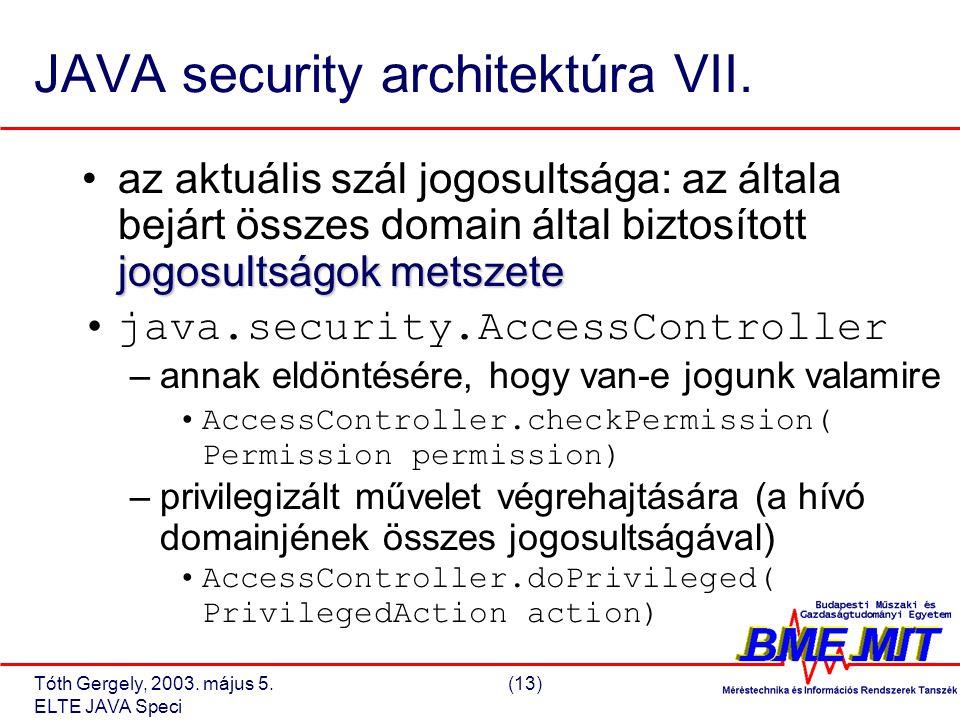 Tóth Gergely, 2003. május 5.(13) ELTE JAVA Speci JAVA security architektúra VII.