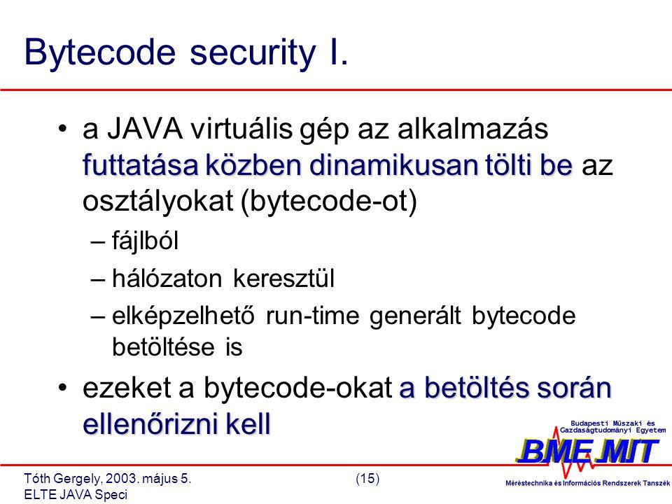 Tóth Gergely, 2003. május 5.(15) ELTE JAVA Speci Bytecode security I.