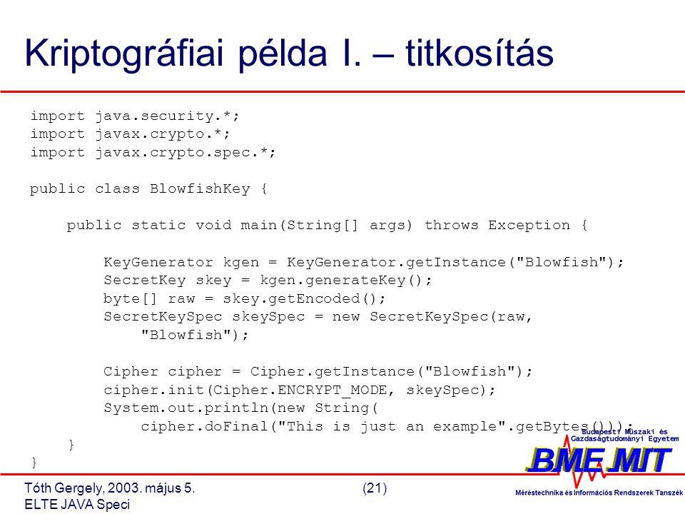 Tóth Gergely, 2003. május 5.(21) ELTE JAVA Speci Kriptográfiai példa I.