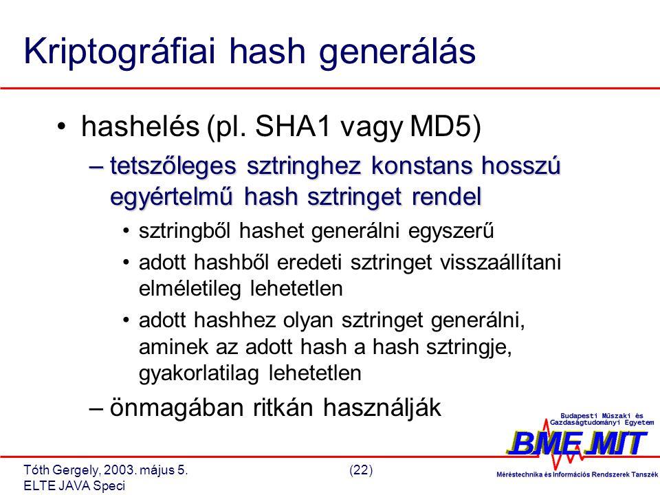 Tóth Gergely, 2003. május 5.(22) ELTE JAVA Speci Kriptográfiai hash generálás hashelés (pl.