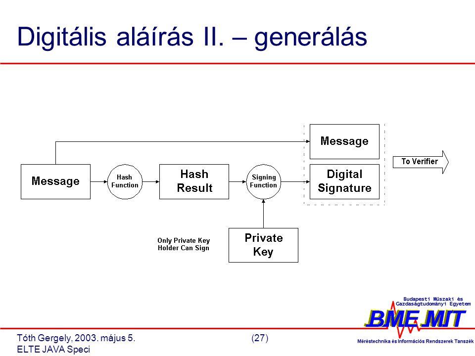 Tóth Gergely, 2003. május 5.(27) ELTE JAVA Speci Digitális aláírás II. – generálás