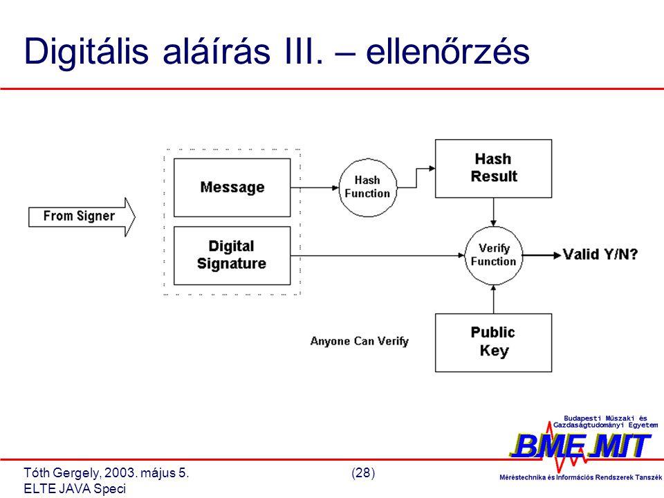 Tóth Gergely, 2003. május 5.(28) ELTE JAVA Speci Digitális aláírás III. – ellenőrzés