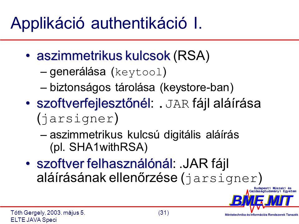 Tóth Gergely, 2003. május 5.(31) ELTE JAVA Speci Applikáció authentikáció I.