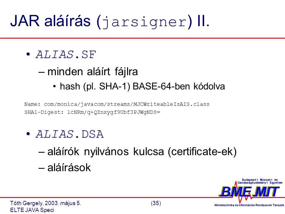Tóth Gergely, 2003. május 5.(35) ELTE JAVA Speci JAR aláírás ( jarsigner ) II.