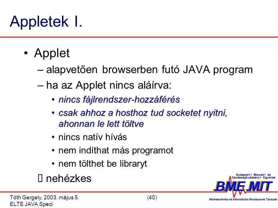 Tóth Gergely, 2003. május 5.(40) ELTE JAVA Speci Appletek I.