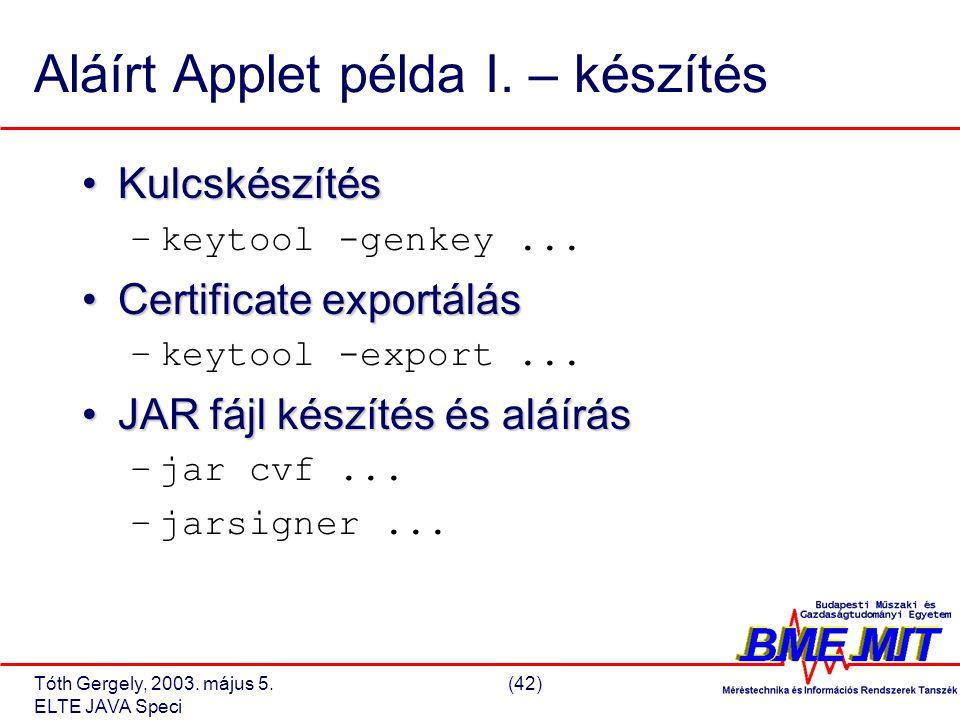 Tóth Gergely, 2003. május 5.(42) ELTE JAVA Speci Aláírt Applet példa I.