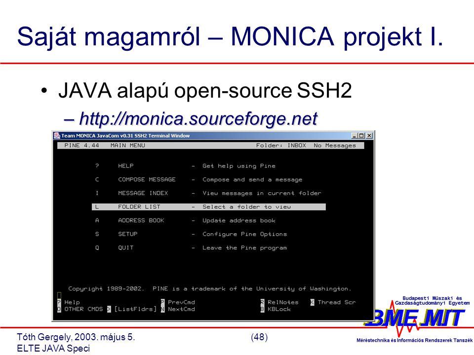 Tóth Gergely, 2003. május 5.(48) ELTE JAVA Speci Saját magamról – MONICA projekt I.