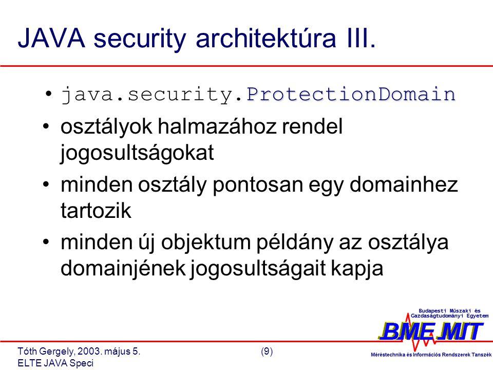 Tóth Gergely, 2003. május 5.(9) ELTE JAVA Speci JAVA security architektúra III.