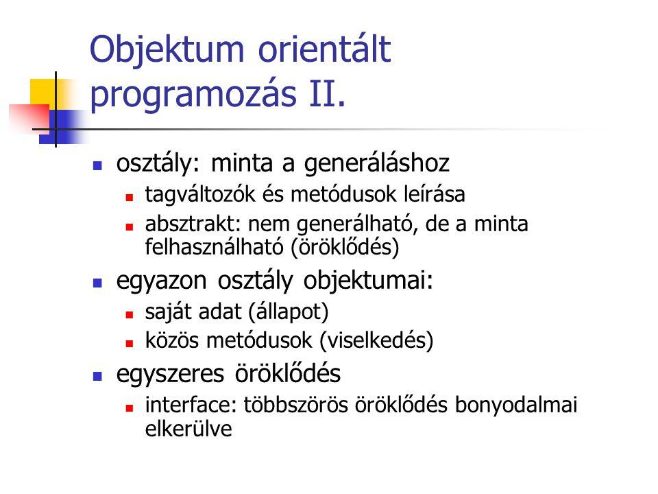Objektum orientált programozás II. osztály: minta a generáláshoz tagváltozók és metódusok leírása absztrakt: nem generálható, de a minta felhasználhat