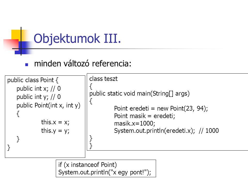 Objektumok III. public class Point { public int x; // 0 public int y; // 0 public Point(int x, int y) { this.x = x; this.y = y; } class teszt { public