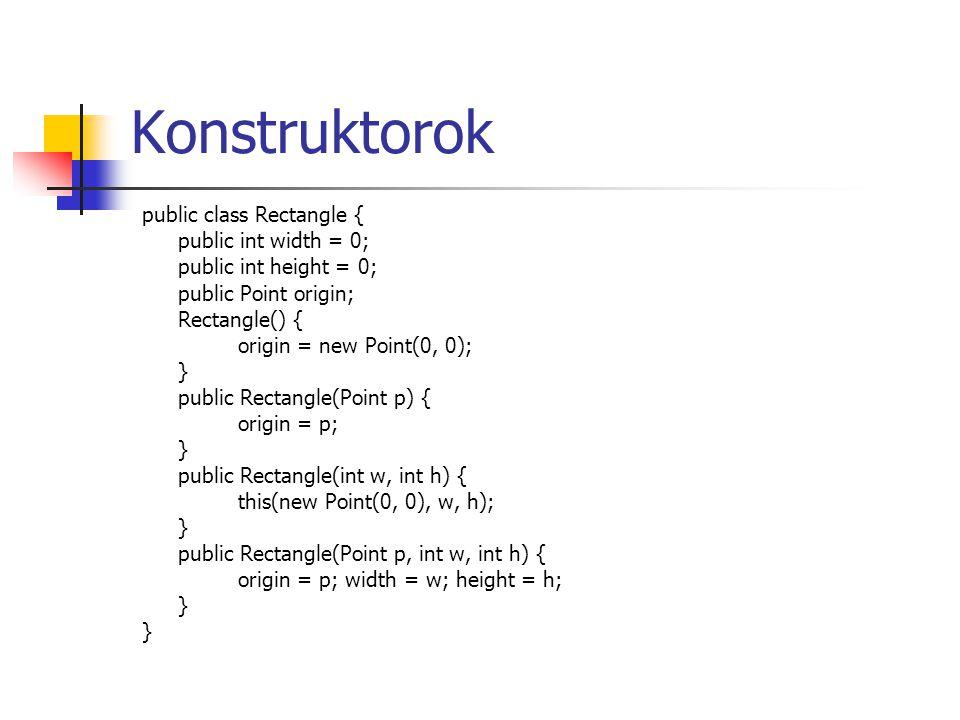 Object minden osztály belőle származik közvetve vagy közvetlenül felülírható metódusai: clone (klónozás) equals / hashCode (összehasonlítás, int) finalize (memória felszabadítás, super.finalize()) toString végleges metódusai: getClass notify notifyAll wait