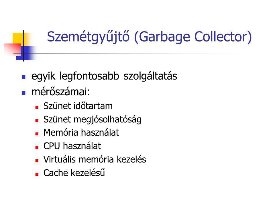 Szemétgyűjtő (Garbage Collector) egyik legfontosabb szolgáltatás mérőszámai: Szünet időtartam Szünet megjósolhatóság Memória használat CPU használat Virtuális memória kezelés Cache kezelésű