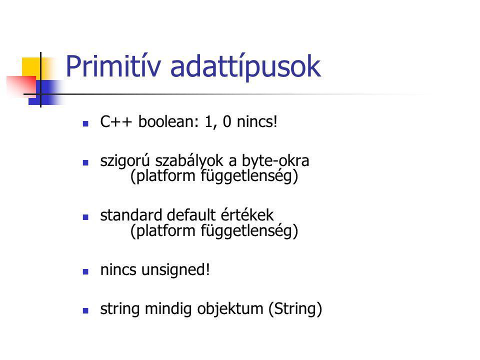Primitív adattípusok C++ boolean: 1, 0 nincs.