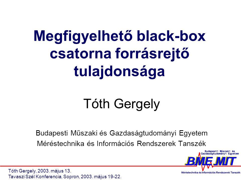 Tóth Gergely, 2003.május 13. Tavaszi Szél Konferencia, Sopron, 2003.
