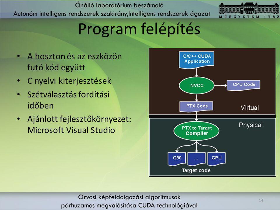 Program felépítés A hoszton és az eszközön futó kód együtt C nyelvi kiterjesztések Szétválasztás fordítási időben Ajánlott fejlesztőkörnyezet: Microso