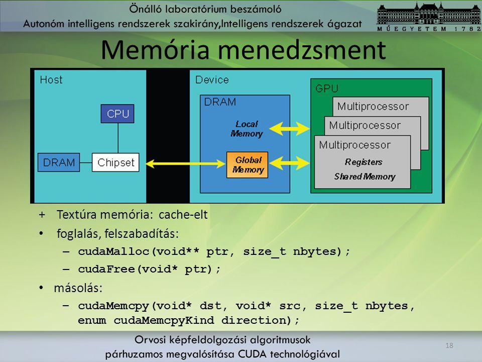 Memória menedzsment 18 +Textúra memória: cache-elt foglalás, felszabadítás: – cudaMalloc(void** ptr, size_t nbytes); – cudaFree(void* ptr); másolás: –