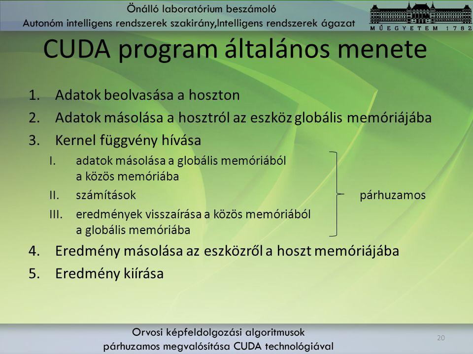 CUDA program általános menete 1.Adatok beolvasása a hoszton 2.Adatok másolása a hosztról az eszköz globális memóriájába 3.Kernel függvény hívása I.ada