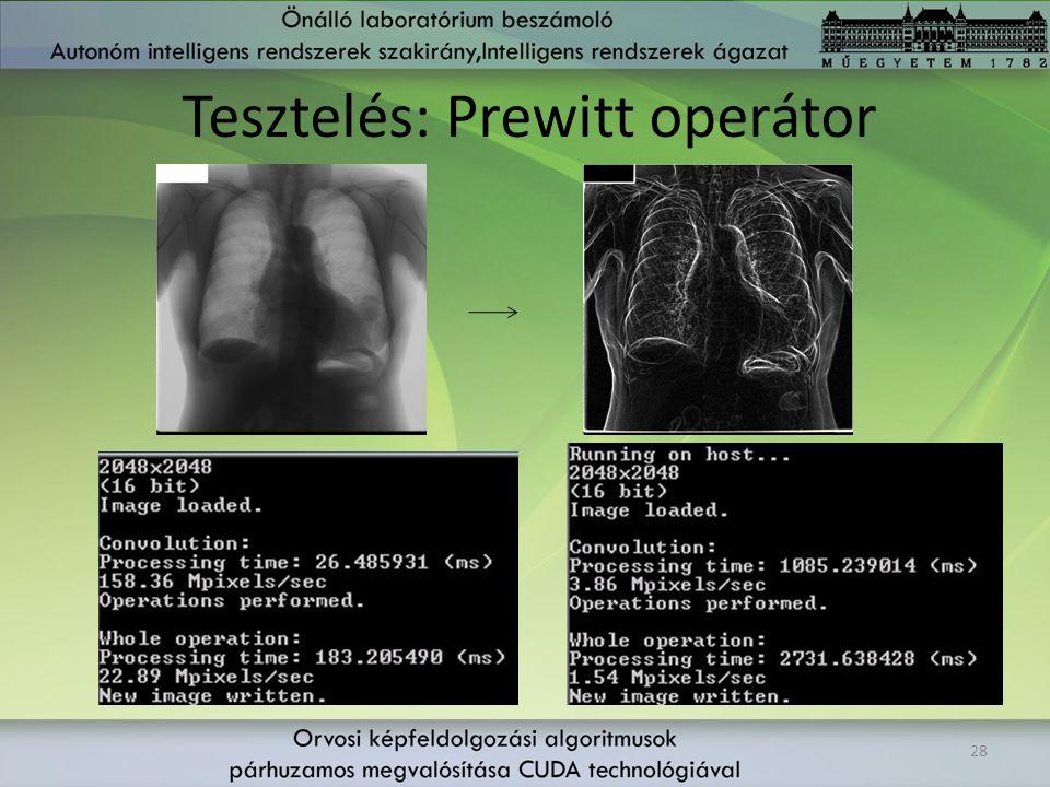 Tesztelés: Prewitt operátor 28