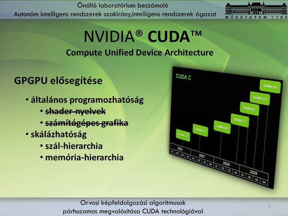 NVIDIA® CUDA™ 5 GPGPU elősegítése Compute Unified Device Architecture általános programozhatóság shader-nyelvek számítógépes grafika skálázhatóság szá