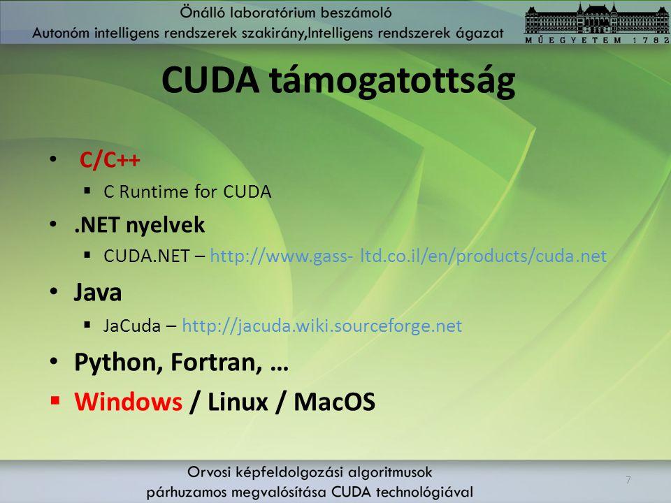 CUDA támogatottság C/C++  C Runtime for CUDA.NET nyelvek  CUDA.NET – http://www.gass- ltd.co.il/en/products/cuda.net Java  JaCuda – http://jacuda.w