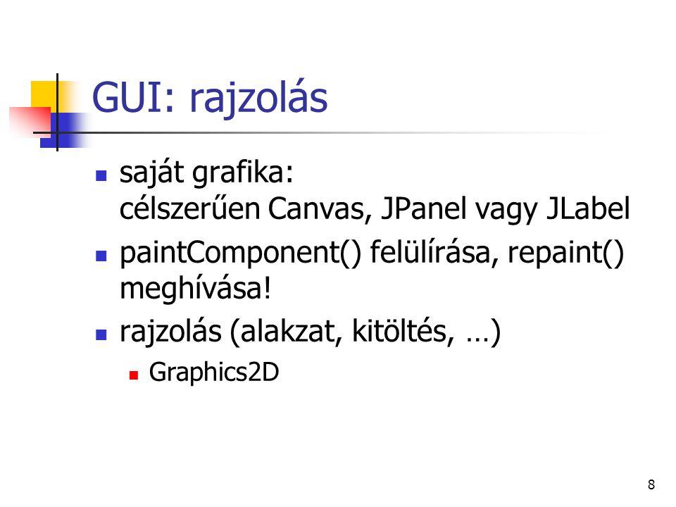 8 GUI: rajzolás saját grafika: célszerűen Canvas, JPanel vagy JLabel paintComponent() felülírása, repaint() meghívása! rajzolás (alakzat, kitöltés, …)