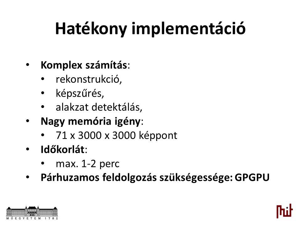 Hatékony implementáció Komplex számítás: rekonstrukció, képszűrés, alakzat detektálás, Nagy memória igény: 71 x 3000 x 3000 képpont Időkorlát: max. 1-