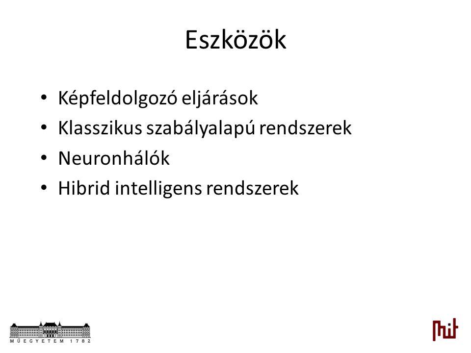Eszközök Képfeldolgozó eljárások Klasszikus szabályalapú rendszerek Neuronhálók Hibrid intelligens rendszerek