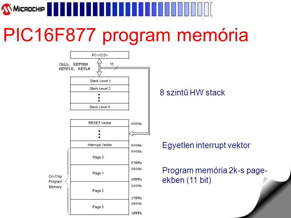 PIC16F877 program memória Program memória 2k-s page- ekben (11 bit) Egyetlen interrupt vektor 8 szintű HW stack