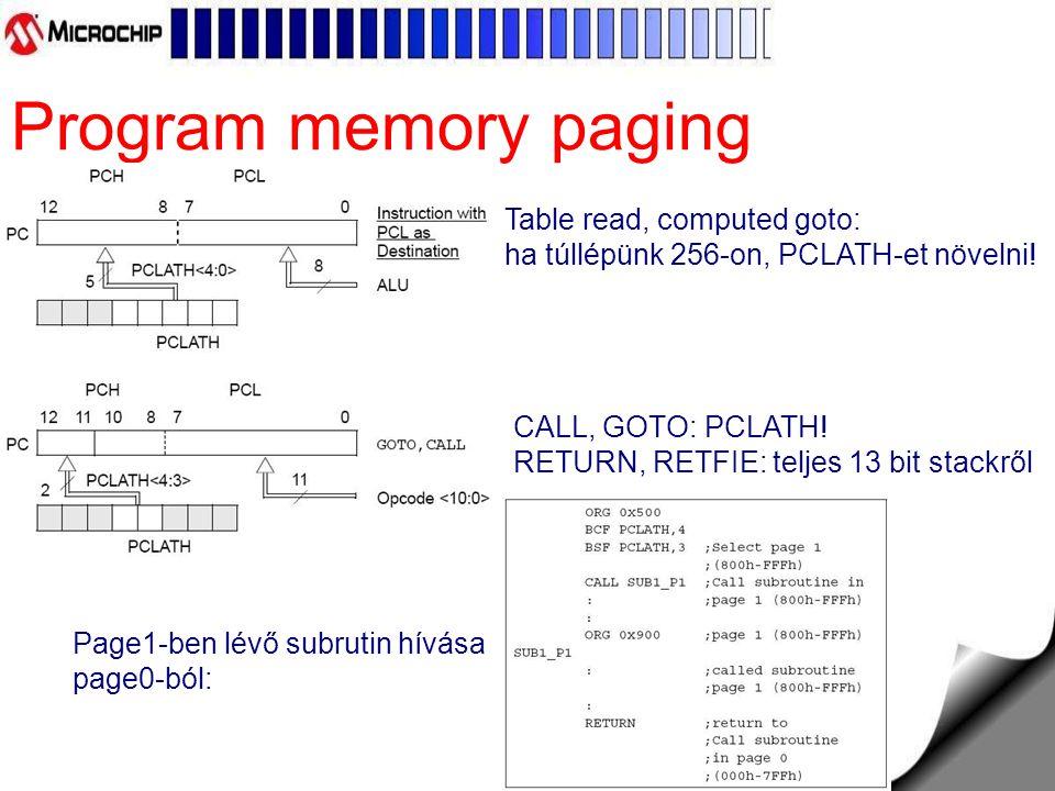 Program memory paging Table read, computed goto: ha túllépünk 256-on, PCLATH-et növelni.