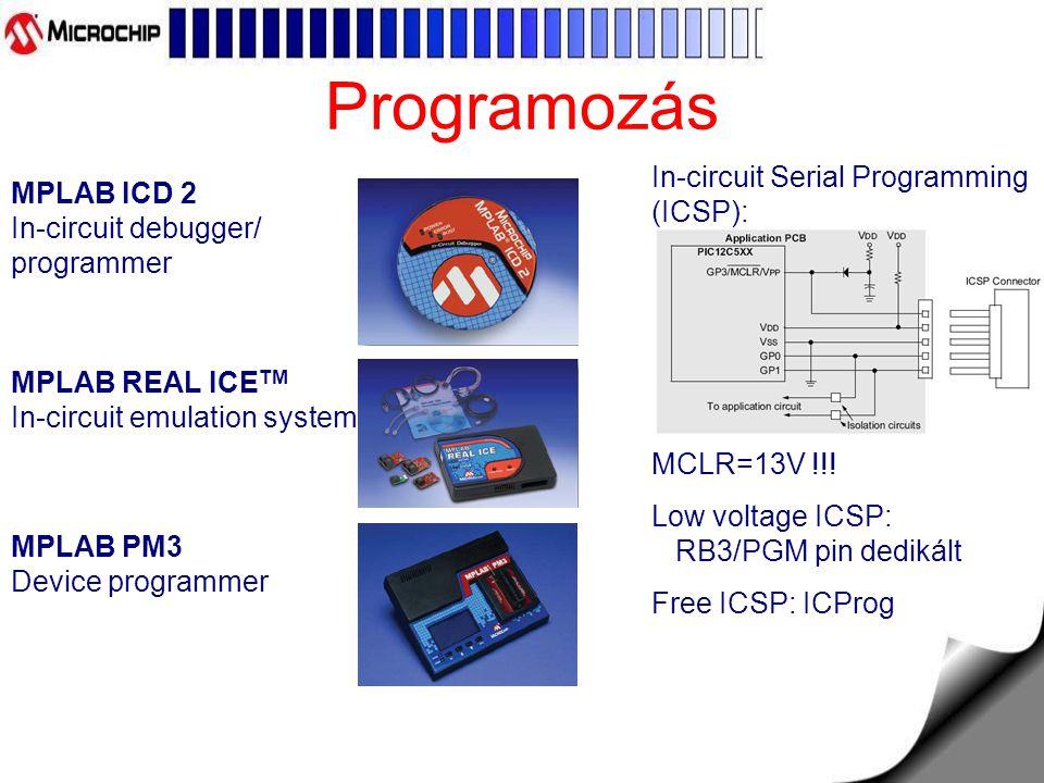 Programozás MPLAB ICD 2 In-circuit debugger/ programmer MPLAB REAL ICE TM In-circuit emulation system MPLAB PM3 Device programmer In-circuit Serial Programming (ICSP): MCLR=13V !!.
