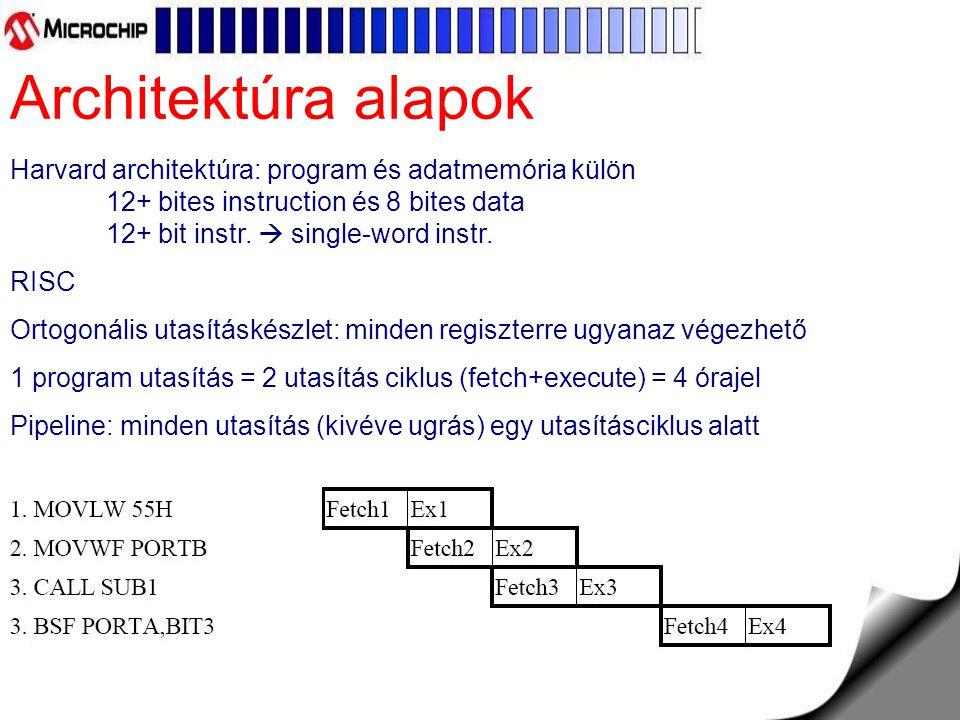 Harvard architektúra: program és adatmemória külön 12+ bites instruction és 8 bites data 12+ bit instr.  single-word instr. RISC Ortogonális utasítás