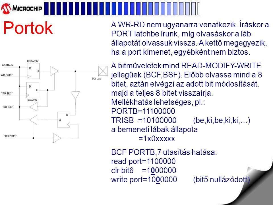 Baseline flash PIC Általános tulajdonságok: flash program memória baseline core: 33 db 12 bites utasítás, 2 rétegű HW stack low power (100nA) sleep current 25mA source/sink current I/O 8 bites timer (TMR0) watchdog timer (WDT) In Circuit Serial Programming (ICSP) Short Device Reset Timer, 1.125ms (DRT): csak PIC10F220/222, PIC12F510 és PIC16F506