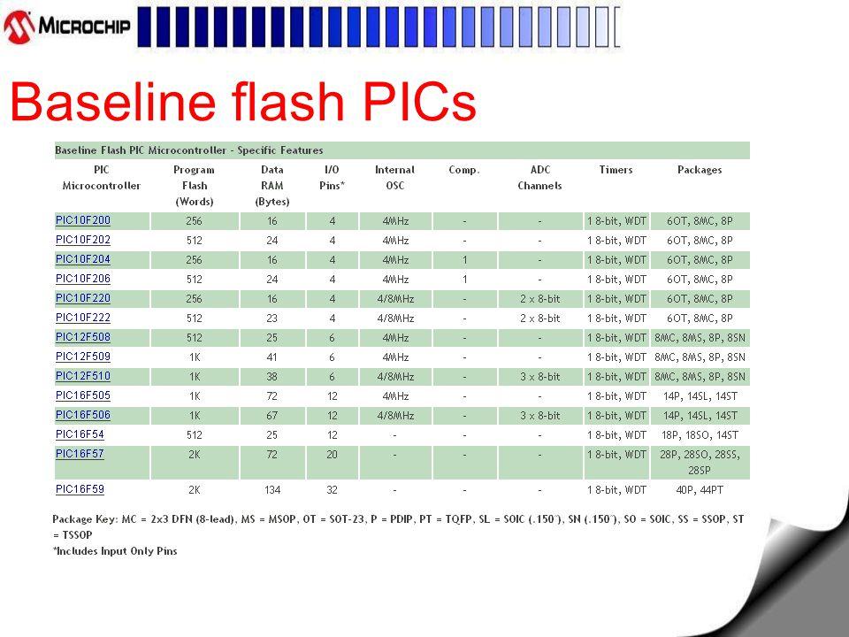 Baseline flash PICs