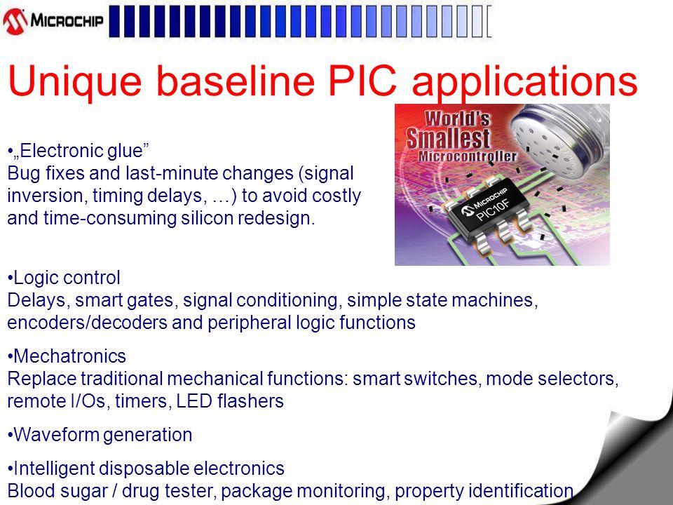 Mid-range flash PIC Általános tulajdonságok: flash program memória mid-range core: 35 db 14 bites utasítás, 8 rétegű HW stack low power (100nA) sleep current 25mA source/sink current I/O 1 db 16 bites timer (TMR1) 2 db 8 bites timer (TMR0/2) watchdog timer (WDT) hardware interrupt In Circuit Serial Programming (ICSP)