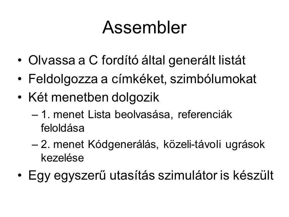 Assembler Olvassa a C fordító által generált listát Feldolgozza a címkéket, szimbólumokat Két menetben dolgozik –1. menet Lista beolvasása, referenciá