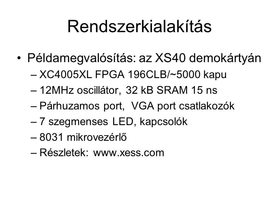 Rendszerkialakítás Példamegvalósítás: az XS40 demokártyán –XC4005XL FPGA 196CLB/~5000 kapu –12MHz oscillátor, 32 kB SRAM 15 ns –Párhuzamos port, VGA p