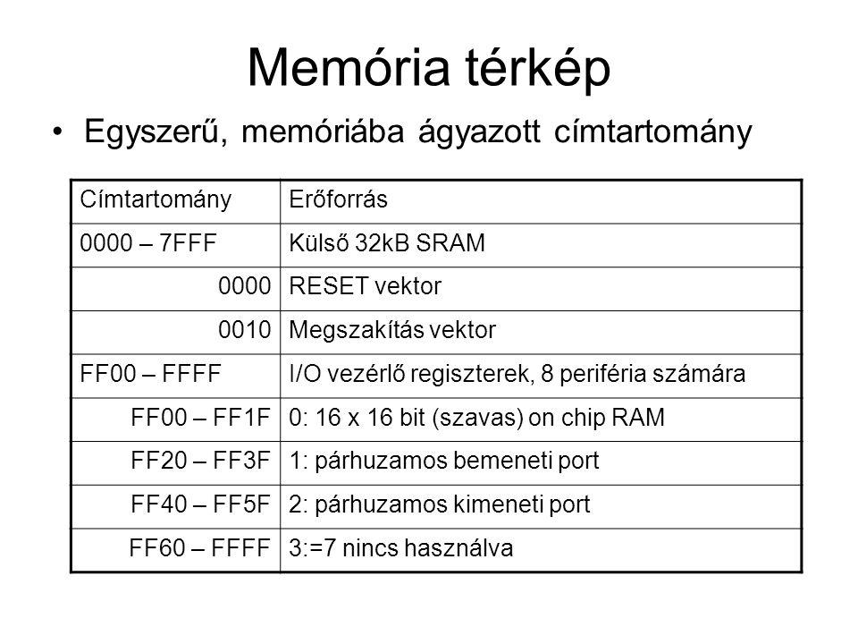Memória térkép Egyszerű, memóriába ágyazott címtartomány CímtartományErőforrás 0000 – 7FFFKülső 32kB SRAM 0000RESET vektor 0010Megszakítás vektor FF00