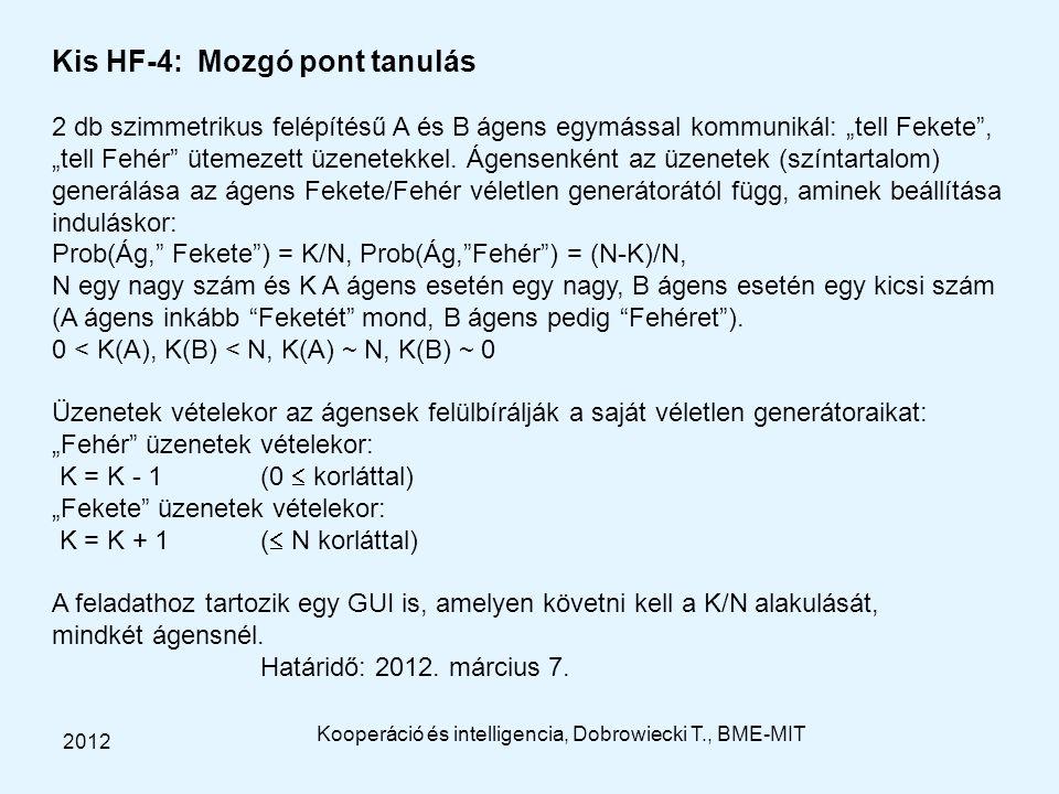 """Kis HF-4: Mozgó pont tanulás 2 db szimmetrikus felépítésű A és B ágens egymással kommunikál: """"tell Fekete"""", """"tell Fehér"""" ütemezett üzenetekkel. Ágense"""