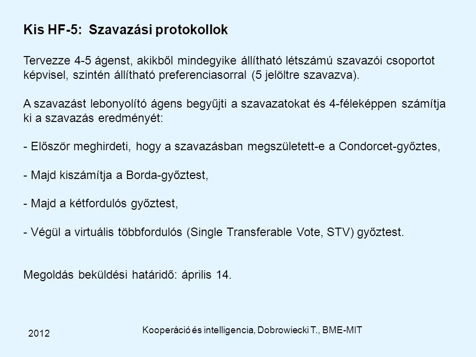 Kooperáció és intelligencia, Dobrowiecki T., BME-MIT 2012 Kis HF-5: Szavazási protokollok Tervezze 4-5 ágenst, akikből mindegyike állítható létszámú s