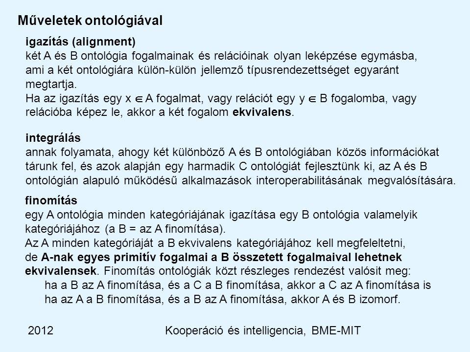 2012Kooperáció és intelligencia, BME-MIT igazítás (alignment) két A és B ontológia fogalmainak és relációinak olyan leképzése egymásba, ami a két ontológiára külön-külön jellemző típusrendezettséget egyaránt megtartja.