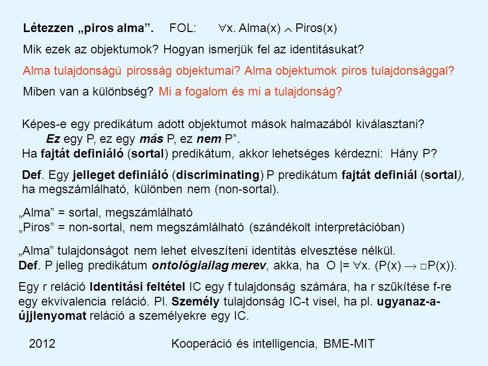 """2012Kooperáció és intelligencia, BME-MIT Létezzen """"piros alma .FOL:  x."""