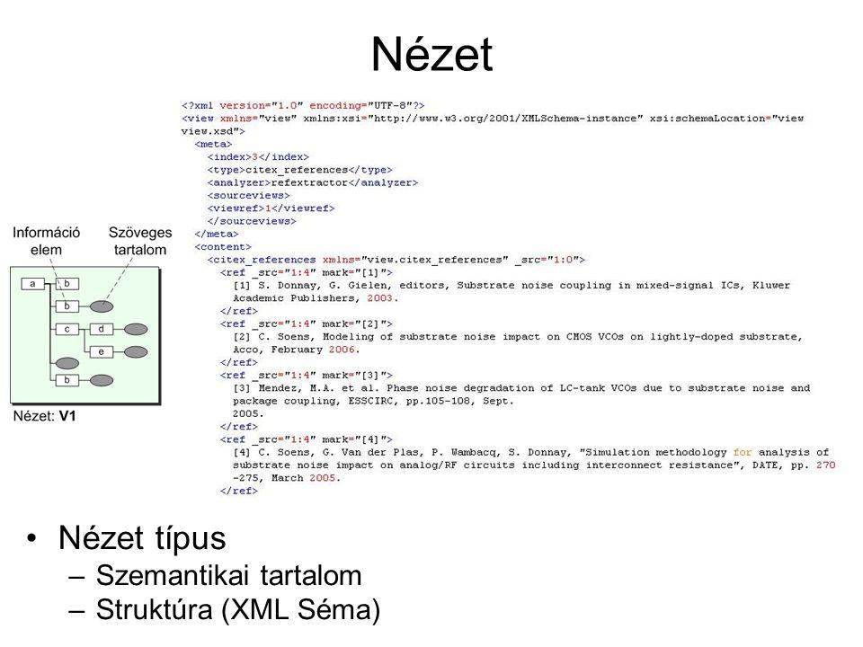 Nézet Nézet típus –Szemantikai tartalom –Struktúra (XML Séma)