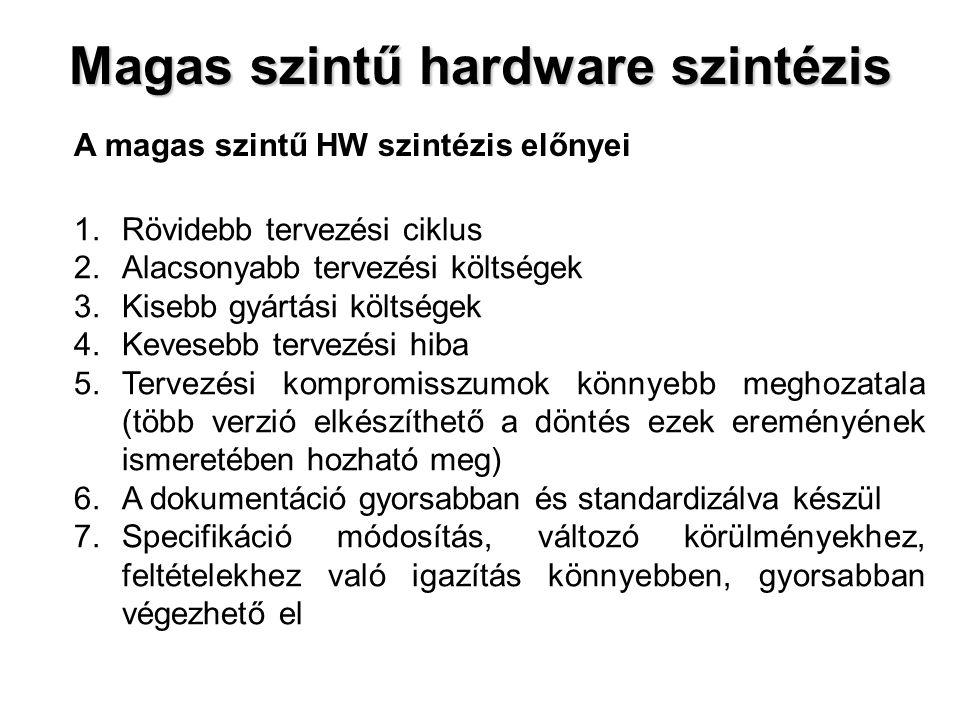 Magas szintű hardware szintézis A magas szintű HW szintézis előnyei 1.Rövidebb tervezési ciklus 2.Alacsonyabb tervezési költségek 3.Kisebb gyártási kö