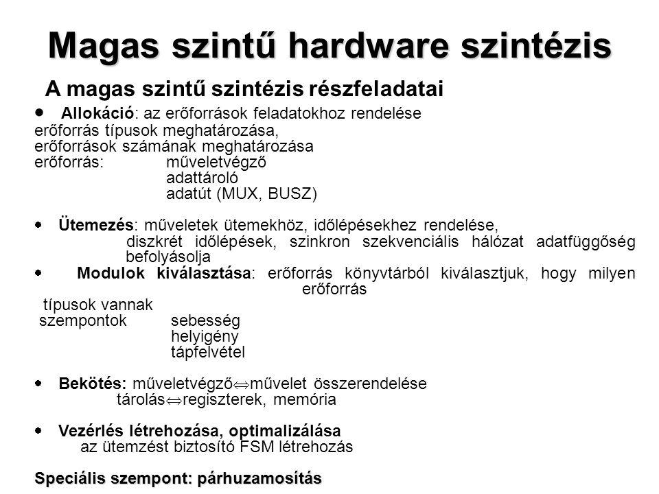 Magas szintű hardware szintézis A magas szintű szintézis részfeladatai  Allokáció: az erőforrások feladatokhoz rendelése erőforrás típusok meghatározása, erőforrások számának meghatározása erőforrás: műveletvégző adattároló adatút (MUX, BUSZ)  Ütemezés: műveletek ütemekhöz, időlépésekhez rendelése, diszkrét időlépések, szinkron szekvenciális hálózat adatfüggőség befolyásolja  Modulok kiválasztása: erőforrás könyvtárból kiválasztjuk, hogy milyen erőforrás típusok vannak szempontok sebesség helyigény tápfelvétel  Bekötés: műveletvégző  művelet összerendelése tárolás  regiszterek, memória  Vezérlés létrehozása, optimalizálása az ütemzést biztosító FSM létrehozás Speciális szempont: párhuzamosítás
