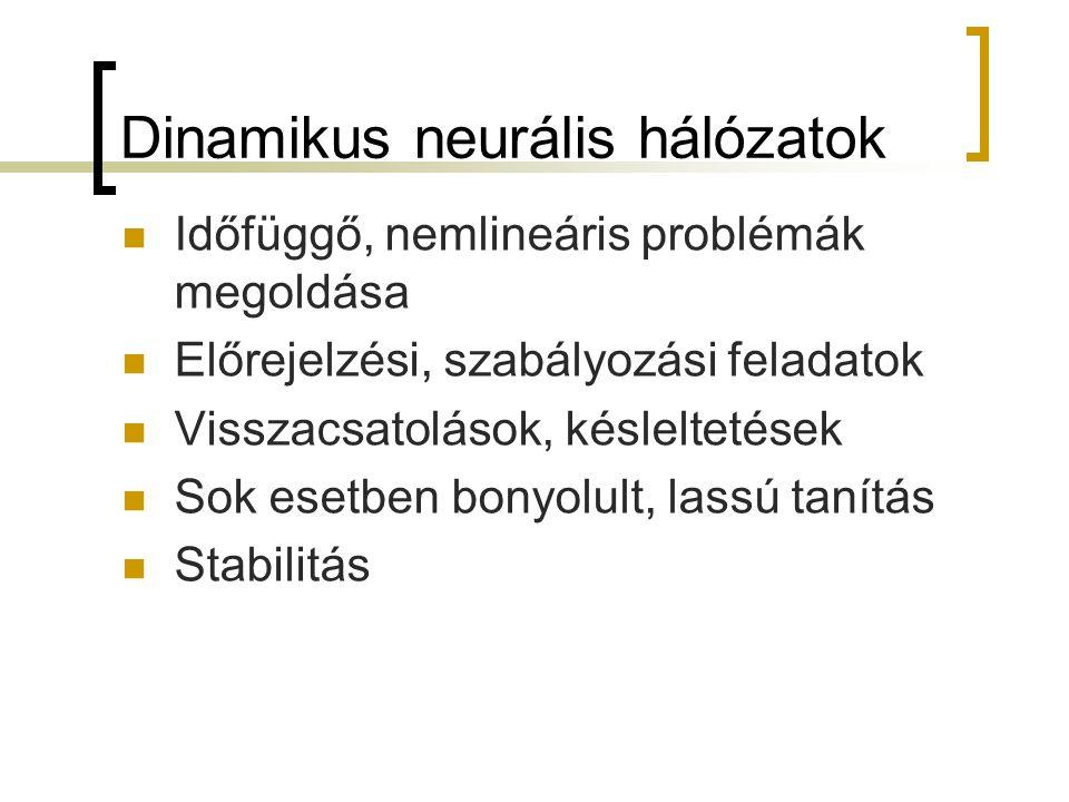 Dinamikus neurális hálózatok Időfüggő, nemlineáris problémák megoldása Előrejelzési, szabályozási feladatok Visszacsatolások, késleltetések Sok esetbe