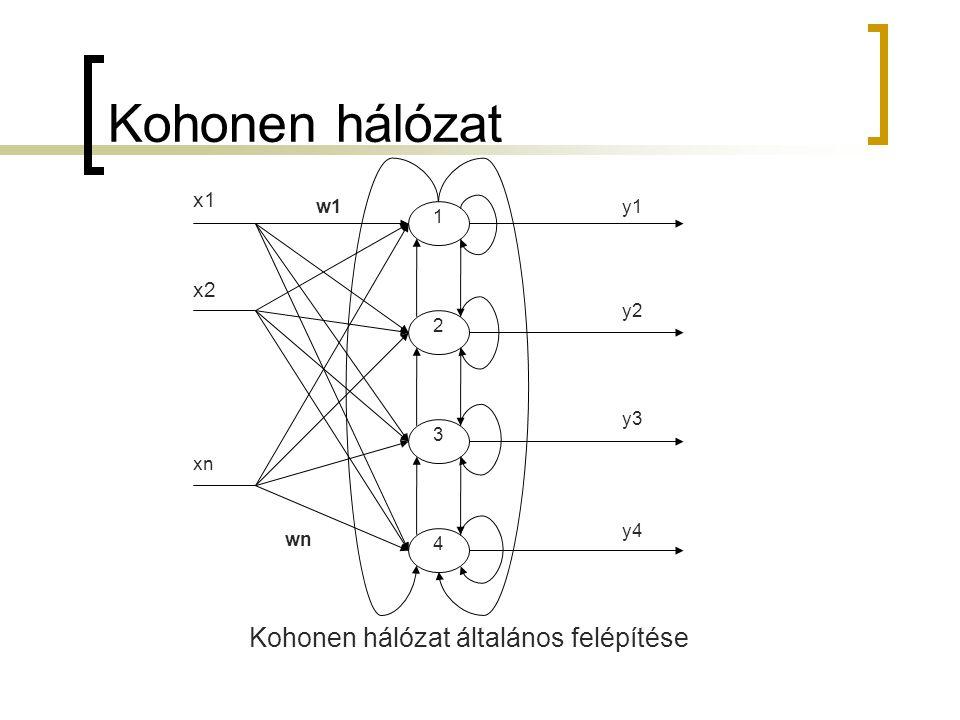 Kohonen hálózat xn x2 w1y1 y4 y3 y2 2 3 4 1 x1 wn Kohonen hálózat általános felépítése