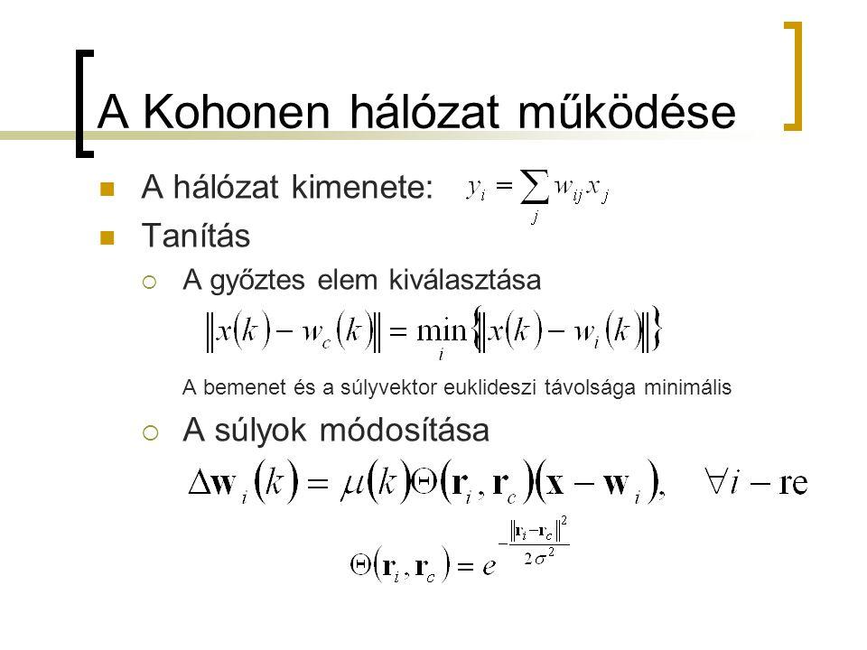 A Kohonen hálózat működése A hálózat kimenete: Tanítás  A győztes elem kiválasztása A bemenet és a súlyvektor euklideszi távolsága minimális  A súly