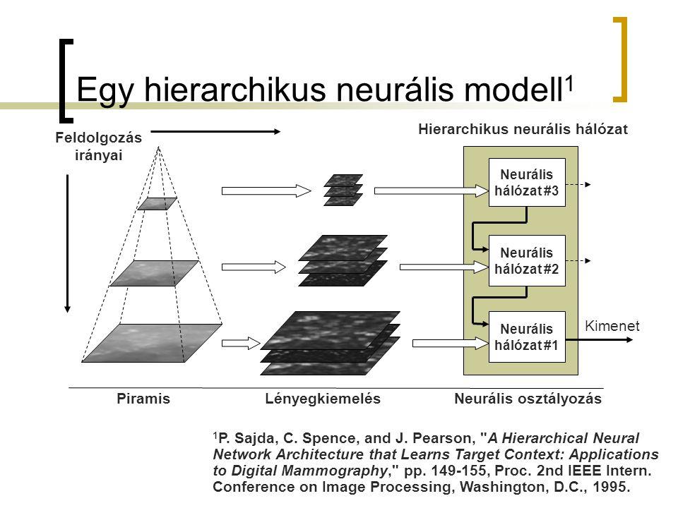 Egy hierarchikus neurális modell 1 Neurális hálózat #2 Neurális hálózat #3 Neurális hálózat #1 Piramis Lényegkiemelés Neurális osztályozás Feldolgozás